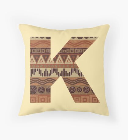 Letter K Leather Look Pattern Tribal Ethnic Monogram Initial Throw Pillow