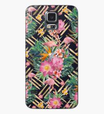 Tropical floral, flamingos and gold strokes pattern Case/Skin for Samsung Galaxy