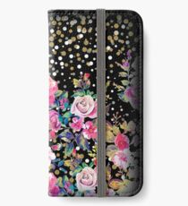 Modern watercolor spring floral and gold dots pattern iPhone Wallet/Case/Skin