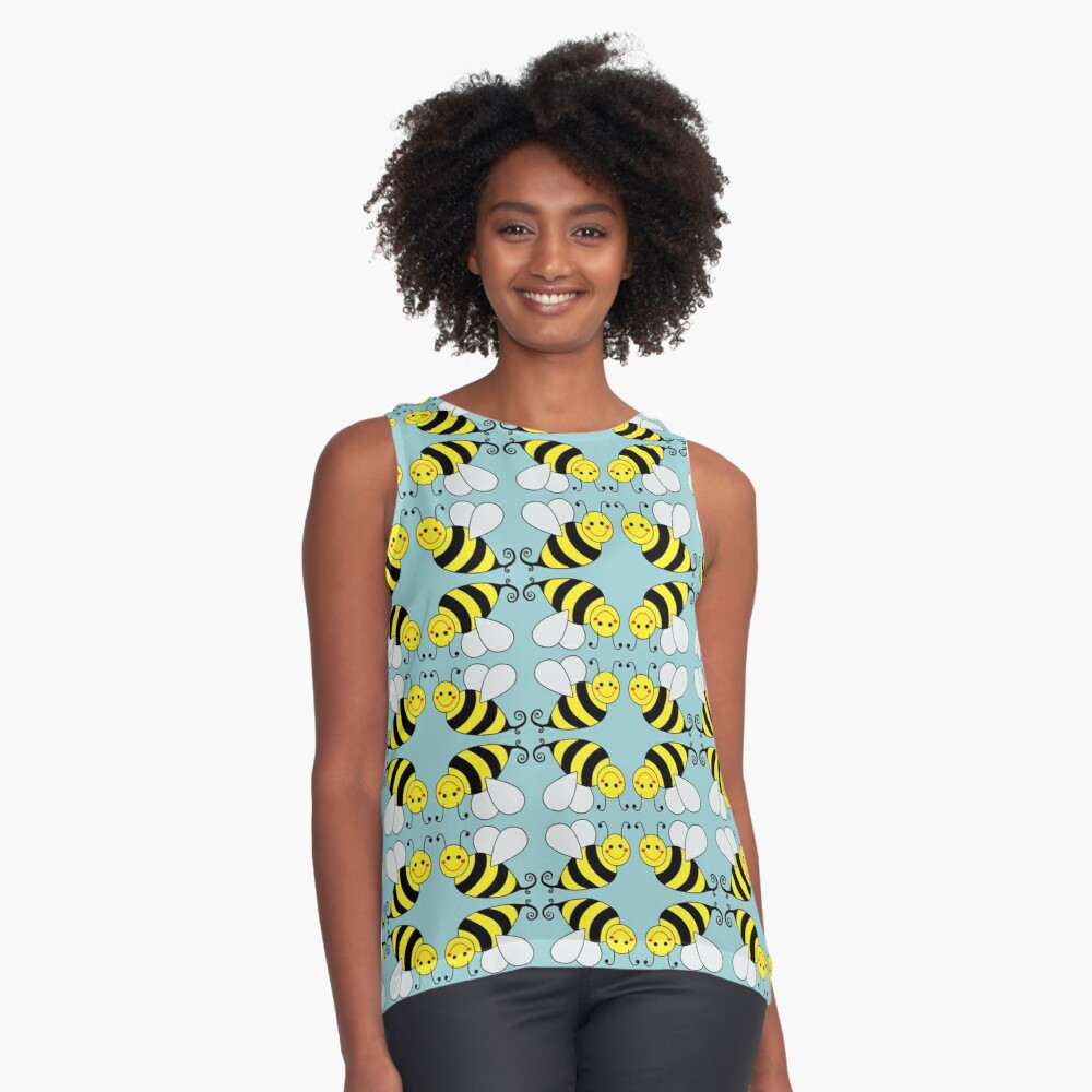 Bumble Bee Pattern Contrast Tank Front