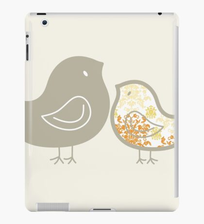 Sweet Yellow Damask Mommy and Baby Chicks iPad Case/Skin