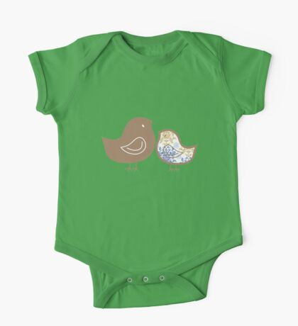Sweet Blue Damask Mommy and Baby Chicks Kids Clothes