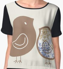 Sweet Blue Damask Mommy and Baby Chicks Chiffon Top