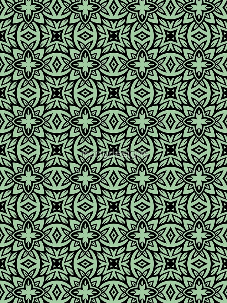 Decorative Arabesque Green and Black by ironydesigns