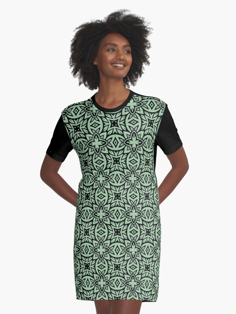 Decorative Arabesque Green and Black Graphic T-Shirt Dress Front