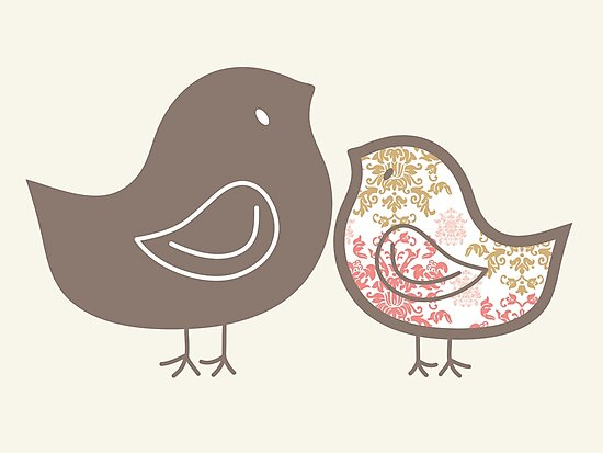 Sweet Pink Damask Mommy and Baby Chicks by fatfatin
