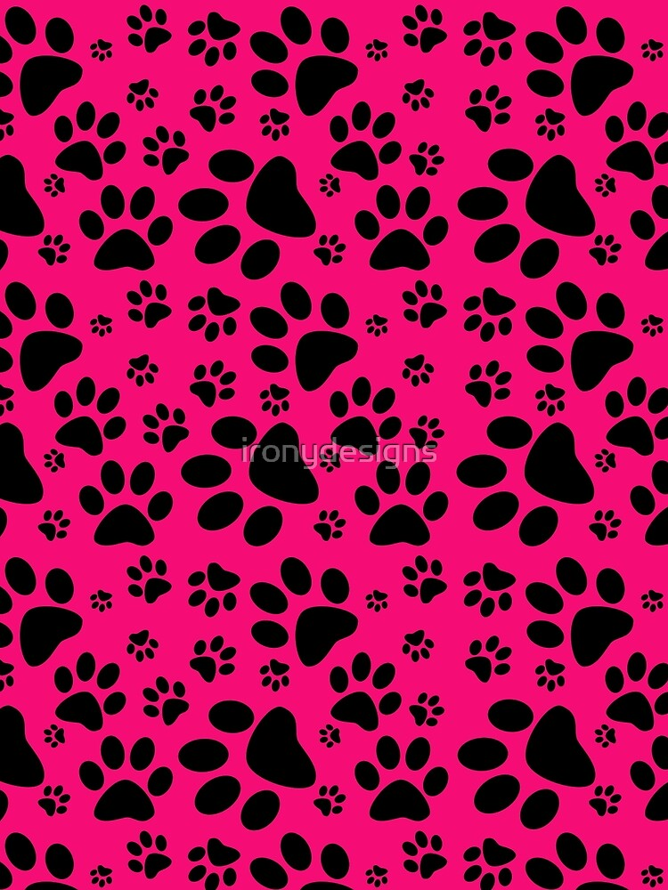 Pink and Black Pet Paw Prints by ironydesigns