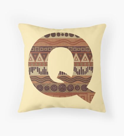 Letter Q Leather Look Pattern Tribal Ethnic Monogram Initial Throw Pillow