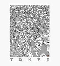 Tokyo Map Line Photographic Print