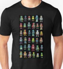 Robot Line-up on Black - fun pattern by Cecca Designs Unisex T-Shirt