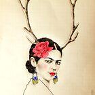 Frida Kahlo with deer antlers  by Elisabete Nascimento
