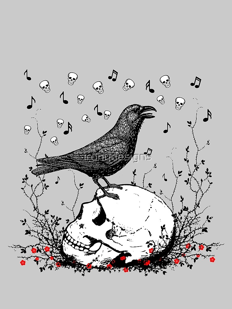 Raven Sings Song of Death on Skull Illustration by ironydesigns