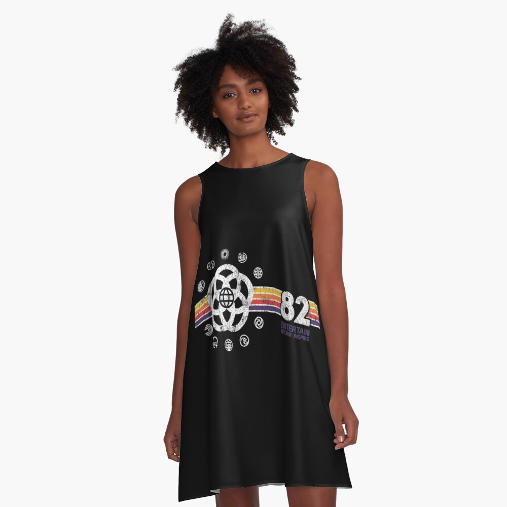 EPCOT Center Vintage Style Distressed Pavilion Logos  A-Line Dress