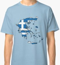 Greece Map With Greek Flag Classic T-Shirt