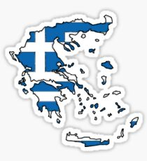 Greece Map With Greek Flag Sticker