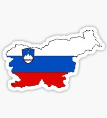 Slovenia Map With Slovenian Flag Sticker
