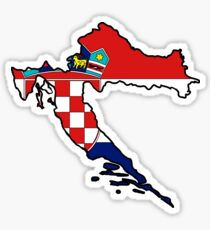 Croatia Map With Croat Flag Sticker
