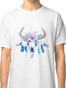 Colorful Boho Flowers Tribal Bull Skull Classic T-Shirt