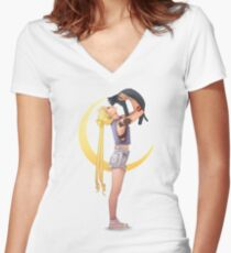 Bunny with cat Women's Fitted V-Neck T-Shirt
