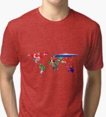 The World Flag Map Tri-blend T-Shirt