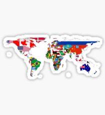 Pegatina El mapa de la bandera del mundo