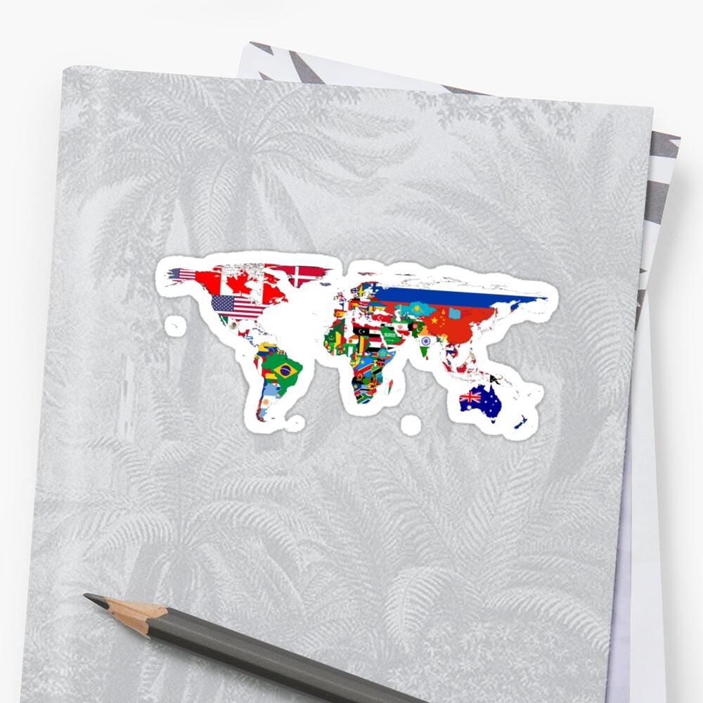 PegatinaEl mapa de la bandera del mundo Delante