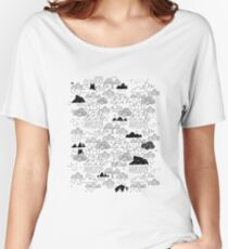 Doodle clouds and cats Women's Relaxed Fit T-Shirt