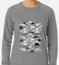 Doodle clouds and cats Lightweight Sweatshirt