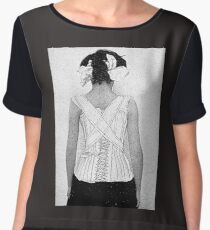 Mysterious Vintage Woman in Corset Women's Chiffon Top