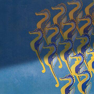 Fresco of the Seahorses. by ikerpazstudio