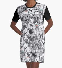 just dogs coral mint Graphic T-Shirt Dress