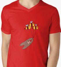 Sloth and Bumble Bees Men's V-Neck T-Shirt