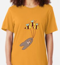 Sloth and Bumble Bees Slim Fit T-Shirt