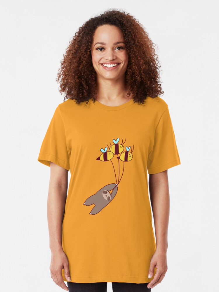 Alternate view of Sloth and Bumble Bees Slim Fit T-Shirt
