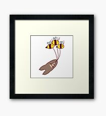 Sloth and Bumble Bees Framed Print