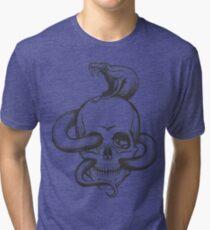 Snake and Skull Engraving Illustration Tri-blend T-Shirt