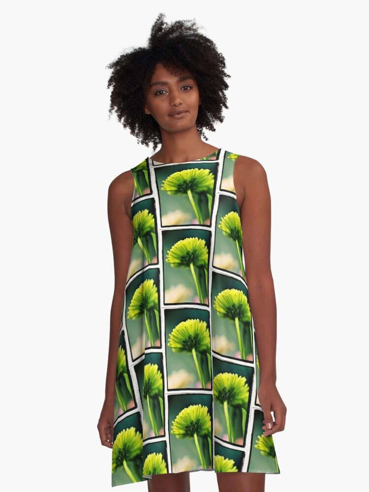 Green Flower A-Line Dress Front
