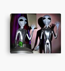 Don't shoot! We just came in to watch Ancient Aliens! Canvas Print