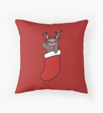 Reindeer Stocking Sloth Throw Pillow