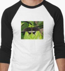 Black and White Butterfly Men's Baseball ¾ T-Shirt