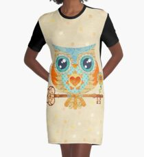 Owl's Summer Love Letters Graphic T-Shirt Dress