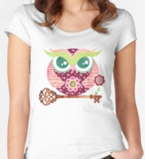 Spring Blossom Owl Women's Fitted Scoop T-Shirt