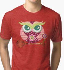 Spring Blossom Owl Tri-blend T-Shirt