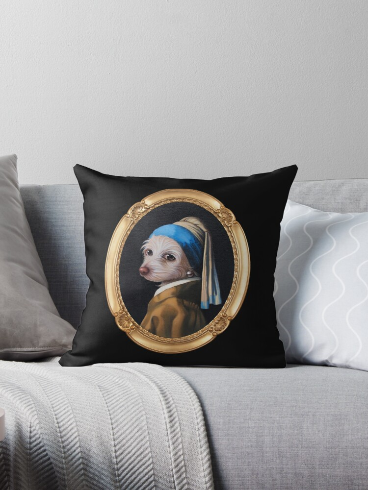 The Dog With the Pearl Earring (Gold Frame) by Dale  Sizer