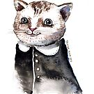 Watercolour Cat in dress by Tristan Klein