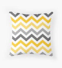 Yellow Gold Grey Chevron Pattern  Throw Pillow