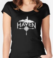 Haven White Logo Women's Fitted Scoop T-Shirt