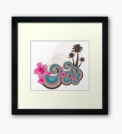 Tropical Waves & Fuchsia Pink Hibiscus Framed Print