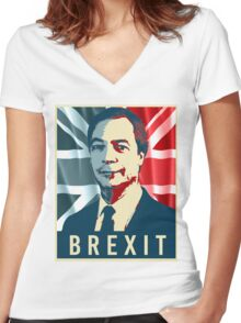 Nigel Farage Brexit Women's Fitted V-Neck T-Shirt