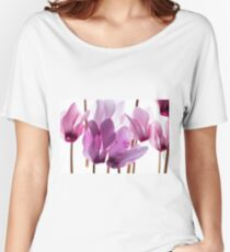 backlit violet petals (Cyclamen) on a lightbox Women's Relaxed Fit T-Shirt